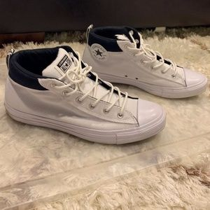 Men's Black and White High Top Converse Size 11